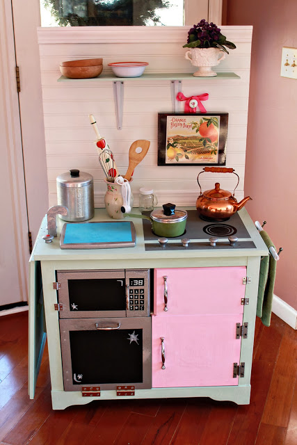 Picture of a repurposed play kitchen